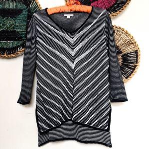 Black & Silver Dana Buchman Tunic Sweater Top EUC